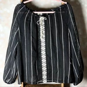 Black & White Sheet Long Sleeve Summer Top